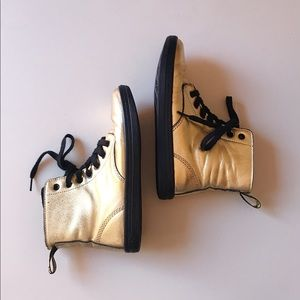 Dr. Martens   Metallic Gold Lace-up Leyton Boots